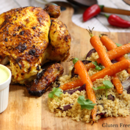 Indian Spiced Chicken with Roasted Carrot Quinoa & Coriander Yogurt Sauce