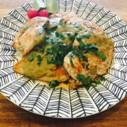 Chicken Breasts with Coriander and Red Thai Curry Peanut Sauce