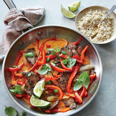 Thai red beef curry with peppers